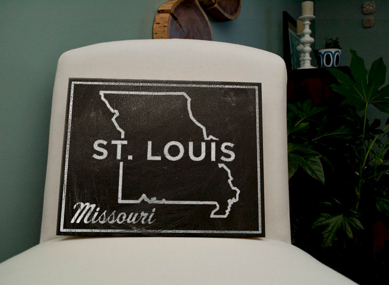 "Black and White Art- St. Louis Art- City State Art Box- 11"" x 14"" Missouri Map Art- Chalkboard Art-  Missouri State Print- Going Away Gifts - product images  of"