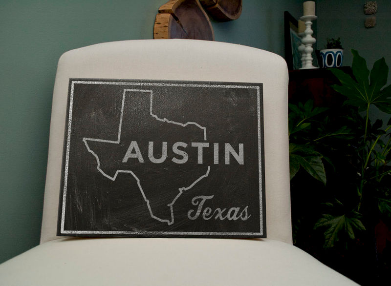 "Austin City State Art Box- 11"" x 14"" Austin Print- Chalkboard Art- Texas State Print- State Art Print- Going Away Gifts- Austin Art - product images  of"