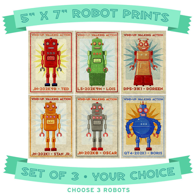 Retro Robot Art Prints- Set of 3- 5