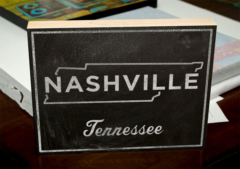 "Nashville Art City State Art Box- Hometown Map- 11"" x 14"" State Print- Chalkboard Art- Custom State Print- Black and White Art- Unique Gift - product images  of"