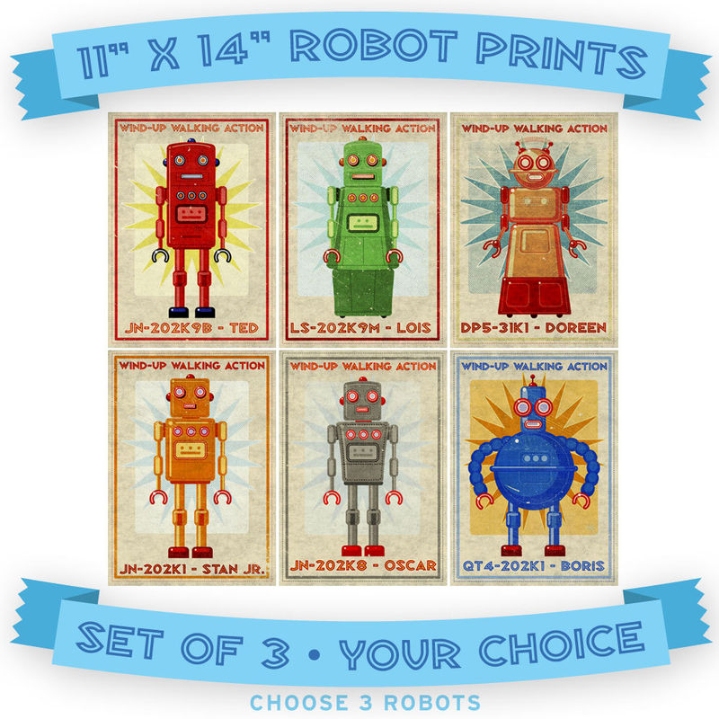 "Retro Robot Art Prints- 11"" x 14""- Set of 3 Robot Prints- Land of Nod Retrobot Series- Robot Wall Art for Kids Room- Sci Fi Art - product images  of"