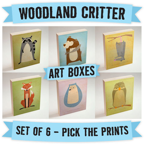 Woodland,Critter,Art,Boxes-,Set,of,6-,Ready,to,Hang,Art-,Pick,the,Critters-,Nursery,Decor,-,Boys,Girls,Print,Digital,Woodland_Critter_Art,Woodland_Creatures,Art_For_Kids_Room,Woodland_Nursery,Raccoon_Art_Print,Red_Fox_Art_Print,Cute_Owl_Art_Print,Bear_Art_Print,Nursery_Art_Prints,Boys_Nursery_Art,Ready_To_Hang_Art,wood,paper,ink,glue,sealer