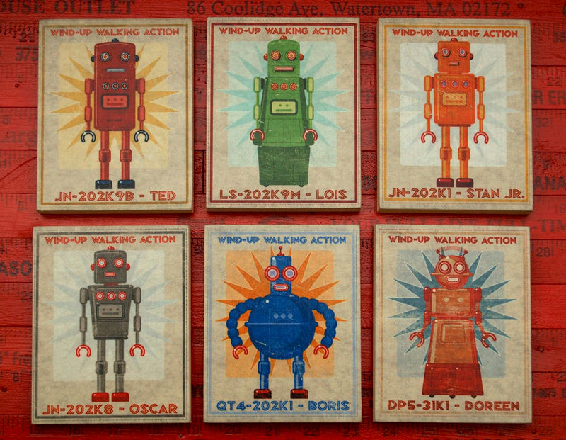 "Retro Robot Art Blocks- Set of 6- 8"" x 10""- Ready to Hang Boys Wall Art- Boy Nursery Art- Boys Room Art - product images  of"