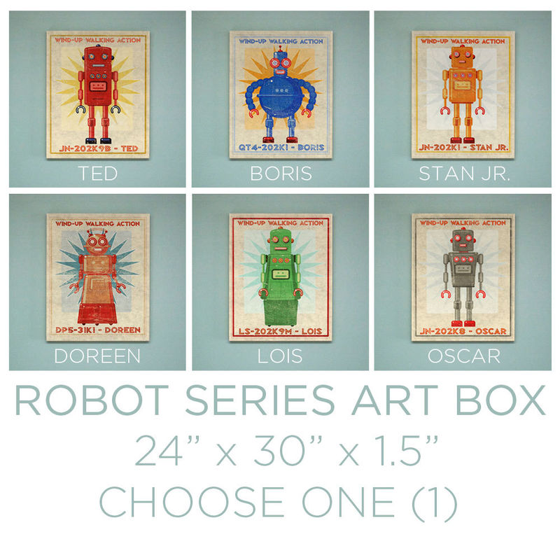 "Retro Robot Art Print Box- Pick the Robot Sci Fi Wall Art- 24"" x 30"" Modern Nursery Art- Robot Wall Decor- Retrobot Series Land of Nod - product images  of"
