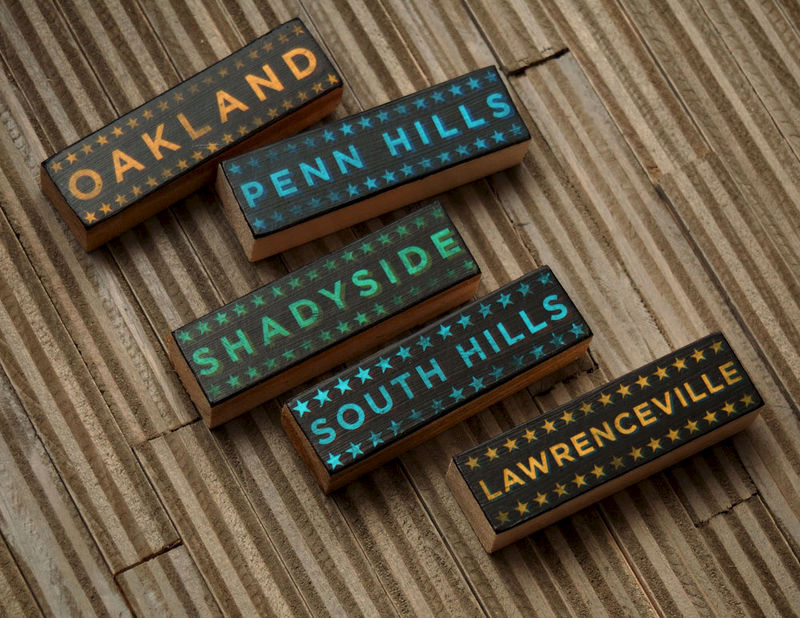 Pittsburgh Art Hoods on Wood- Five Typographic Art Block Set- Pick the Hoods- Wood Art Blocks- City Art- City Word Art- City Blocks - product images  of