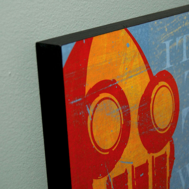 "Retro Robot Art Print Box- Warmth of Your Metal Heart Sci Fi Wall Art- 16"" x 20"" Ready to Hang Robot Wall Decor - product images  of"