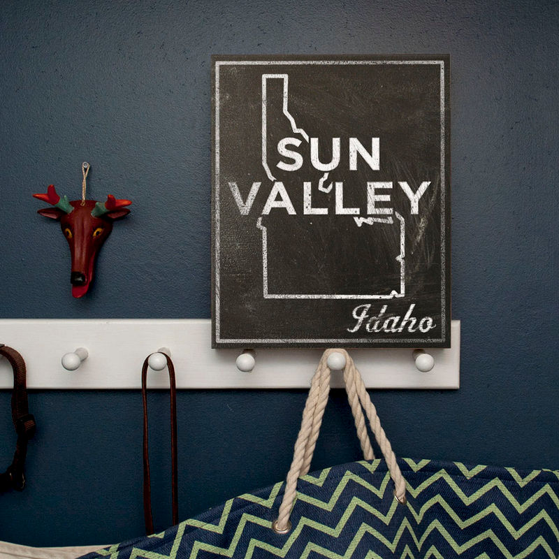 "Gift For Ski Bum- Sun Valley Art- City State Art Box- Sun Valley Idaho Map Print- 11"" x 14""- Map of Idaho State Map Art - product images  of"