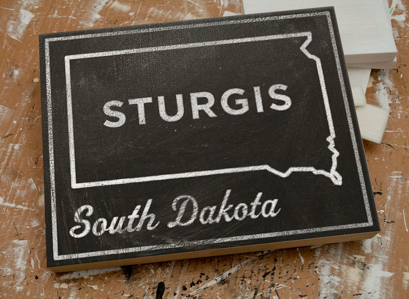 "Gift for Motorcycle Guy- Sturgis Art- City State Art Box- Sturgis South Dakota Map Print- 11"" x 14""- Map of South Dakota State Map - product images  of"