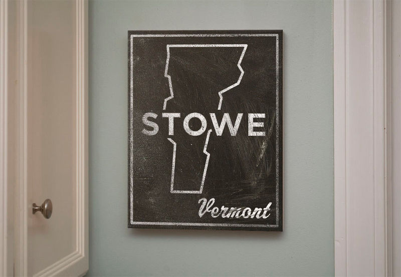 "Gift For Boyfriend- Stowe Art- City State Art Box- Stowe Vermont Map Print- 11"" x 14""- Map of Vermont State Map Art - product images  of"