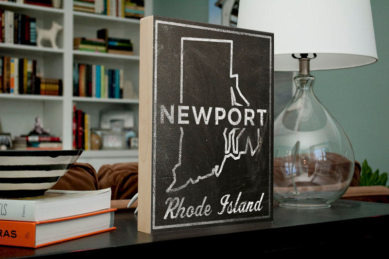 "Newport Art- City State Art Box- Newport Rhode Island Map Print- 11"" x 14""- Map of Rhode Island State Map Art - product images  of"