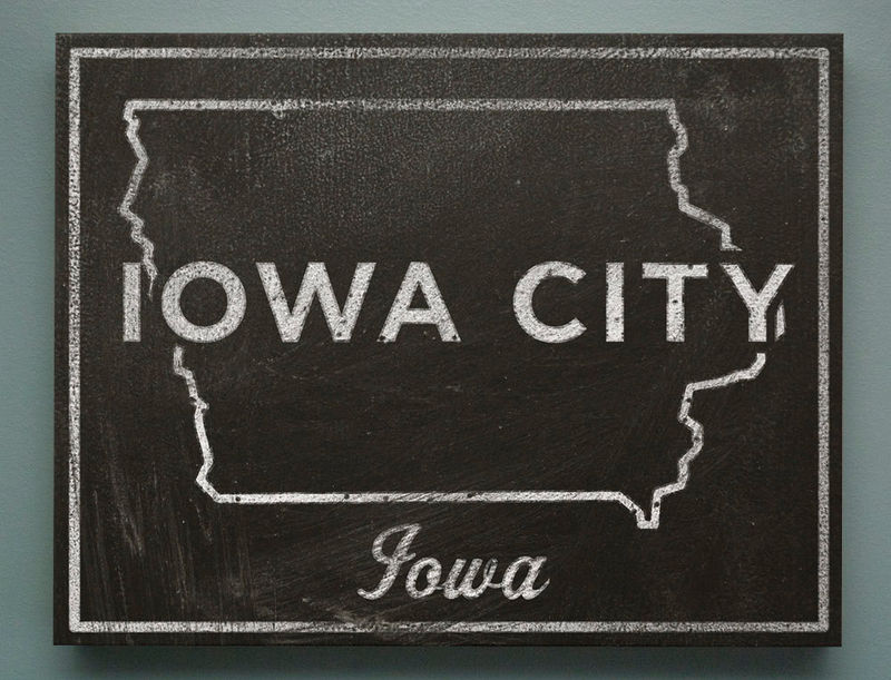 "Gift for Girlfriend- Iowa City Art- City State Art Box- Iowa City Iowa Map Print- 11"" x 14""- Map of Iowa State Map Art - product images  of"