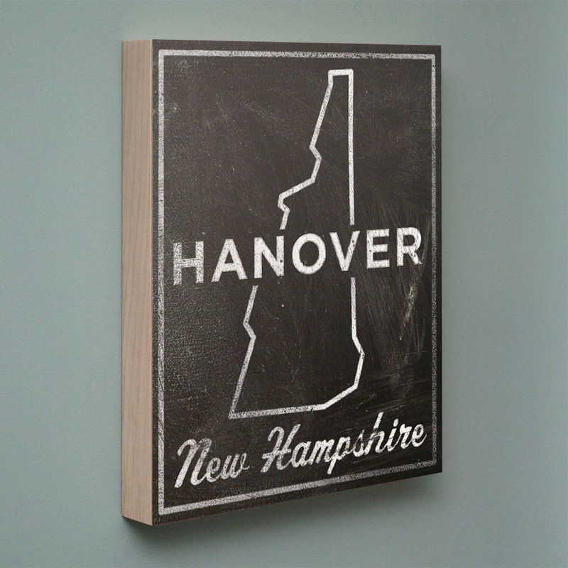 "Hanover Art- City State Art Box- Hanover New Hampshire Map Print- 11"" x 14""- Map of New Hampshire State Map Art - product images  of"