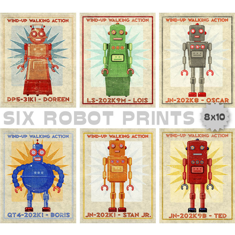 Retro Robot Art Prints- Set of 6 Robot Prints- Boys Nursery Art- for Boys Room-- Robot Wall Art for Kids Room - product images