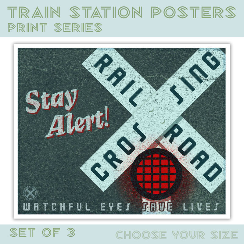 Kids Train Art - For Kids Room - Train Station Posters Set of 3 - Kids Train Decor - Art for Boys Room - Train Prints -  Train Poster - product images  of