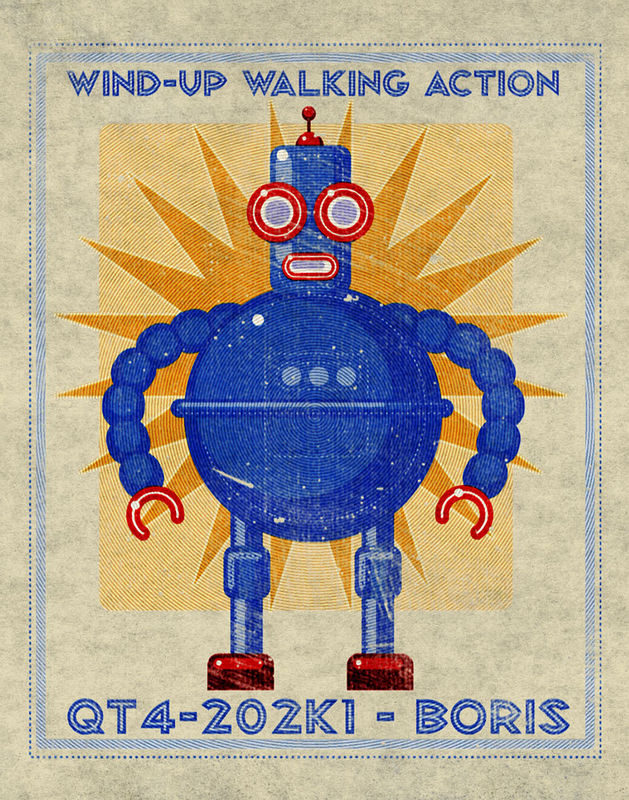 Boris Robot Print- Retro Robot Art Boris Box Art Tin Toy Robot Print 11