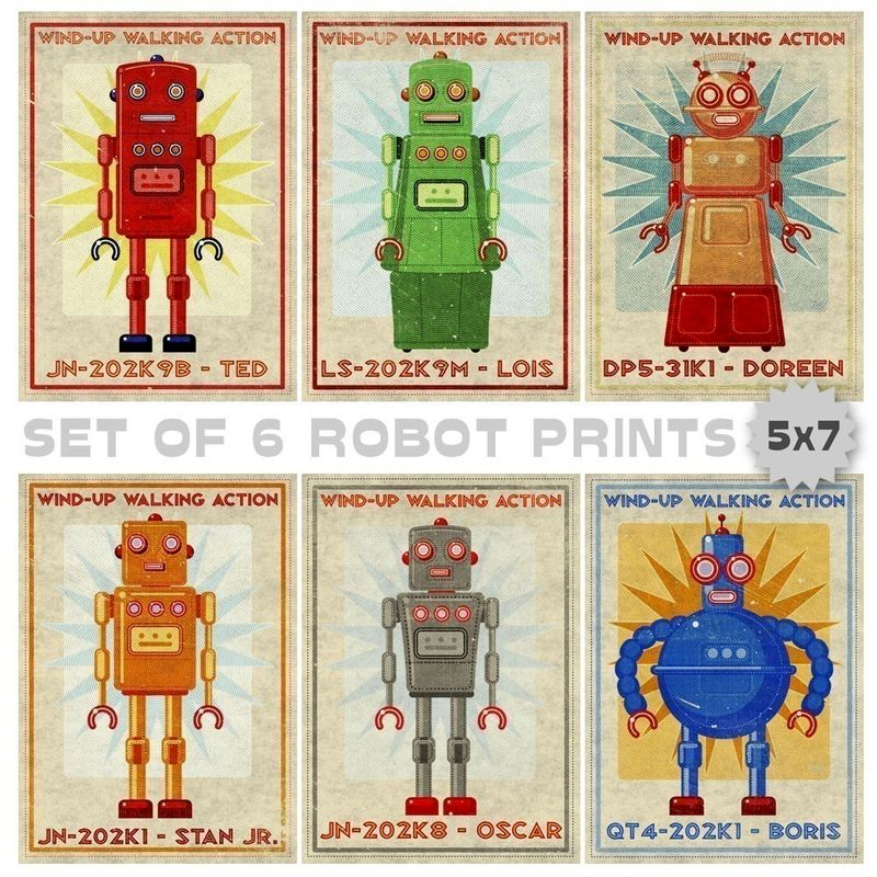 "Retro Robot Art Prints- 5"" x 7""- Set of 6 Robot Prints- Land of Nod Retrobots- Robot Wall Art for Kids Room- Sci Fi Art - product images  of"