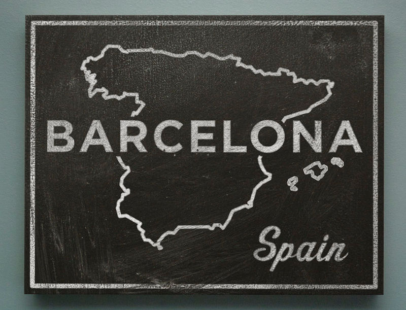 "Barcelona Art- Town and Country  Black and White Art Box- 11"" x 14""- Chalkboard Art- Spain Map Art- Gift for Wife- Gift for Inlaws - product images  of"