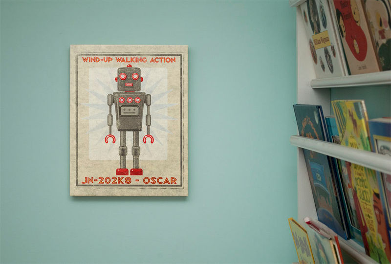 "Retro Robot Art Print Box- Oscar Robot Sci Fi Wall Art- 11"" x 14"" Robot Wall Decor- Retrobot Series from Land of Nod- Childrens Art - product images  of"