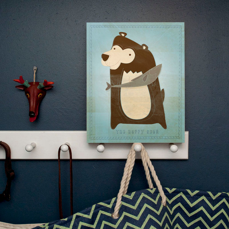 "Woodland Nursery Wall Decor- Woodland Critters Happy Bear Art Box 11"" x 14""- Ready to Hang Modern Nursery Art for Kids Room- Kids Room Art - product images  of"