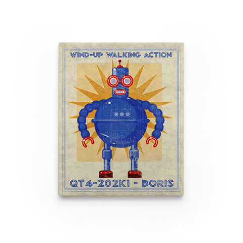 Retro,Robot,Art-,Series,Art,Block-,8,x,10,for,Kids,Room,Print,Digital,John_W_Golden,Science_Fiction,Retro_Robot_Art,Kids_Wall_Art,Childrens_Art,Ready_To_Hang_Art,Paper,Wood,Sealer