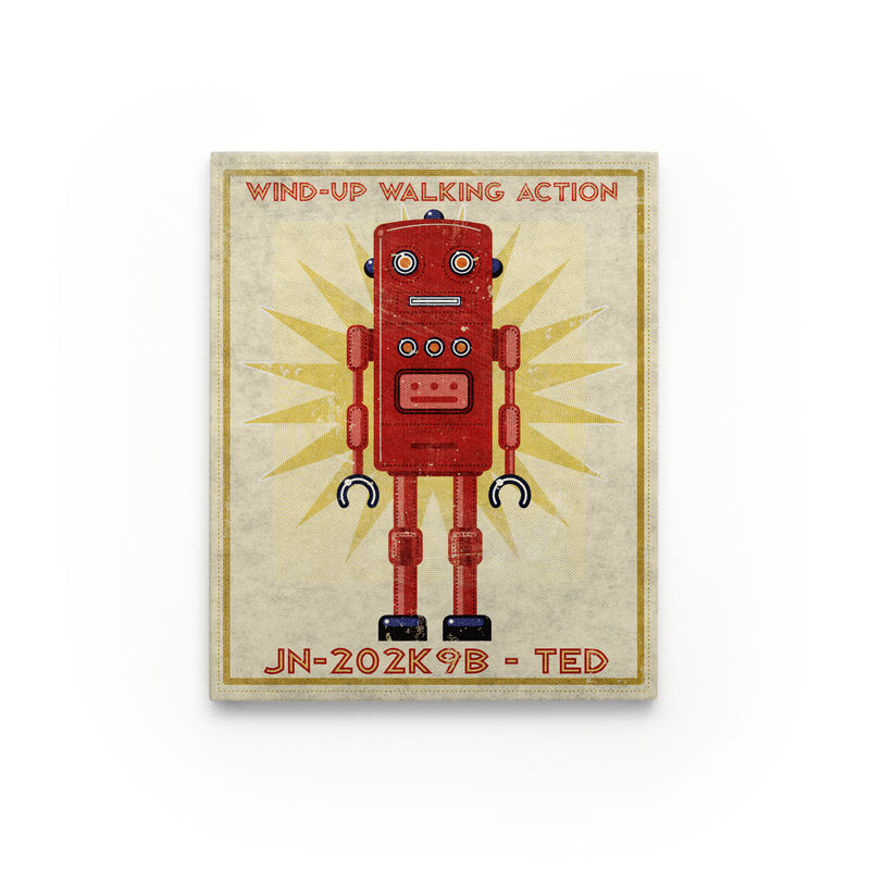 "Retro Robot Art- Series Art Block- 8"" x 10"" Robot Art for Kids Room - product images  of"