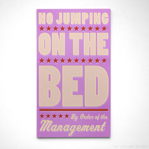 No,Jumping,on,the,Bed,Art,Block-,12.6,in,x,21,in-,Bathroom,Decor,as,seen,Land,of,Nod,Land of Nod,Bathroom decor,Illustration,Digital,parents,john_w_golden,illustration,digital,print,block,green,paper,computer,wood