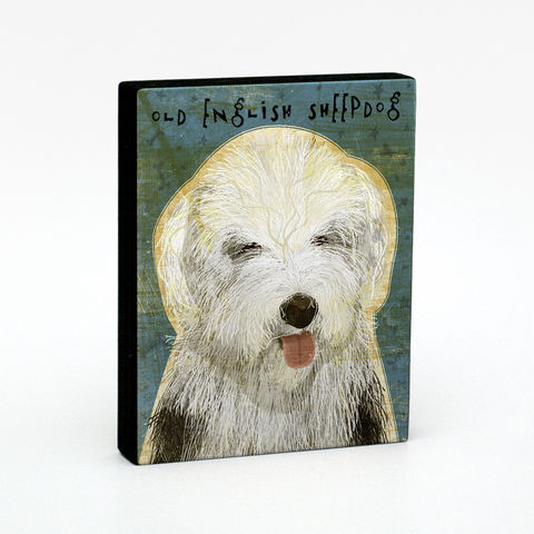 Old,English,Sheep,Dog,Art,Block,or,Box,Old English Sheepdog,Illustration,Digital,wood,block,dog,breed,animal,fathers_day,dad,gift,glue,paper,ink,sealer