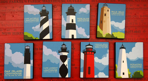 North,Carolina,Lighthouses,Art,Blocks,-,Set,of,7,4,in,x,5,Illustration,Digital,john_w_golden,illustration,digital,print,block,lighthouse,north_carolina,set,paper,computer,wood,sealer,cape_hatteras,bodie_island,ocracoke,currituck,oak_island,bald_head_island