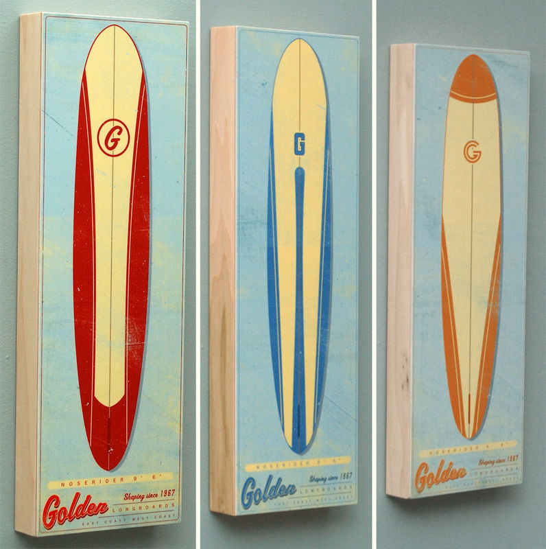 Surf Art Longboard Wall Art Box - Pick the Board - 6 in x 18 in - product images  of