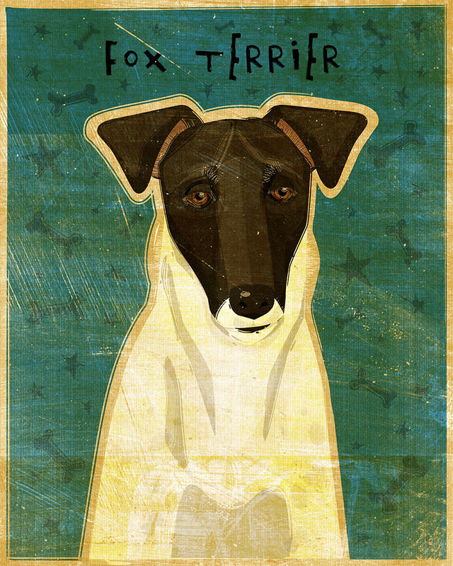 Smooth Fox Terrier Black and White Dog Art Print - product images