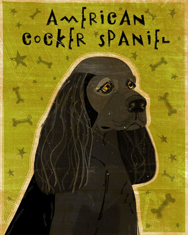 American,Cocker,Spaniel,-,Black,or,Buff,Print,Dog Art,Illustration,digital,whimsical,cute,dog,animal,pet,cocker,spaniel,green,olive,black,paper,ink,buff