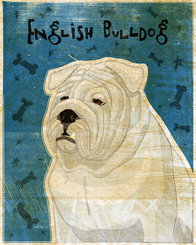 English,Bulldog,Print,-,Various,Colors,Art,Illustration,digital,whimsical,cute,dog,animal,english_bulldog,white,red,paper,ink