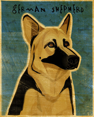 German,Shepherd,Print,-,Various,Colors,Art,Illustration,digital,whimsical,cute,dog,animal,german_shepherd,black,white,black_and_tan,paper,ink