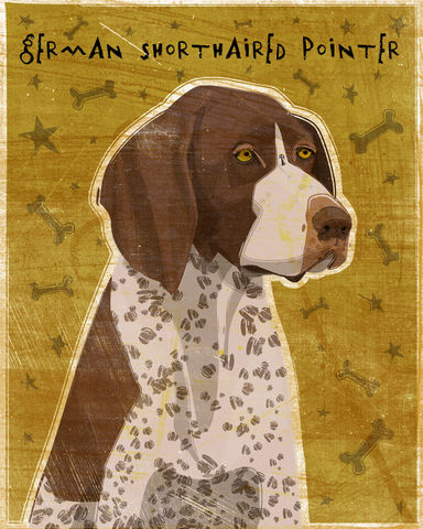 German,Short-Haired,Pointer,Print,-,Various,Colors,Art,Illustration,digital,whimsical,cute,dog,animals,animal,german, shorthaired,pointer,paper,ink