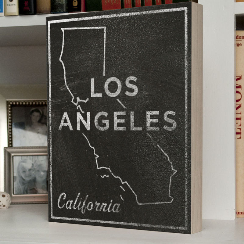 Los Angeles Poster City State Art Box - 11 in x 14 in LA Print - Chalkboard Art - Custom State Print, California State Art - product images  of