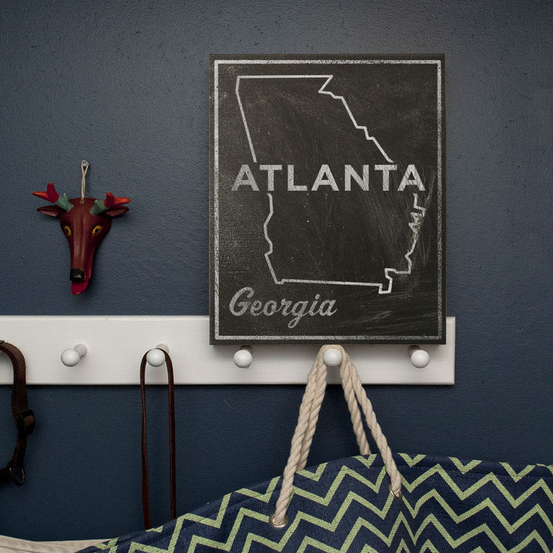Atlanta City State Art Box - 11 in x 14 in Atlanta Print - Chalkboard Art - Custom State Print, Georgia State Art - product images  of