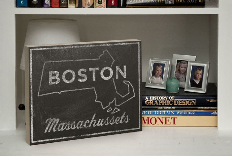 Boston City State Art Box - 11 in x 14 in Boston Print - Chalkboard Art - Custom State Print, Massachusetts State Art - product images  of