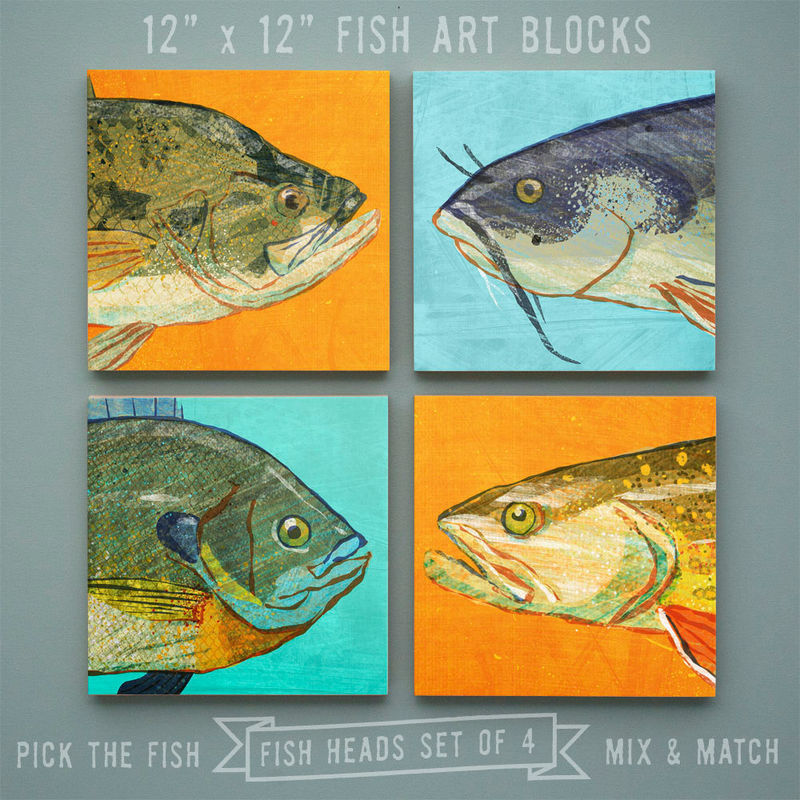 Fish Heads - Freshwater Fish Art Series Set of 4 Art Blocks - 12 in x 12 in Fish Wall Decor Fisherman Gift - Fathers Day Gift for Dad - Gift - product images  of