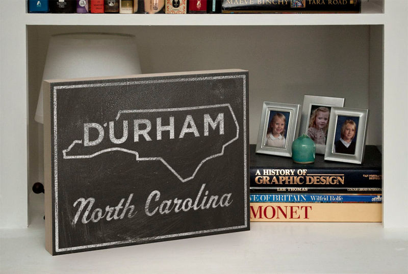 College Town Print - Durham, North Carolina City State Art Box - 11 in x 14 in Custom State Print - State Map Art - Duke Graduation Gift - product images  of