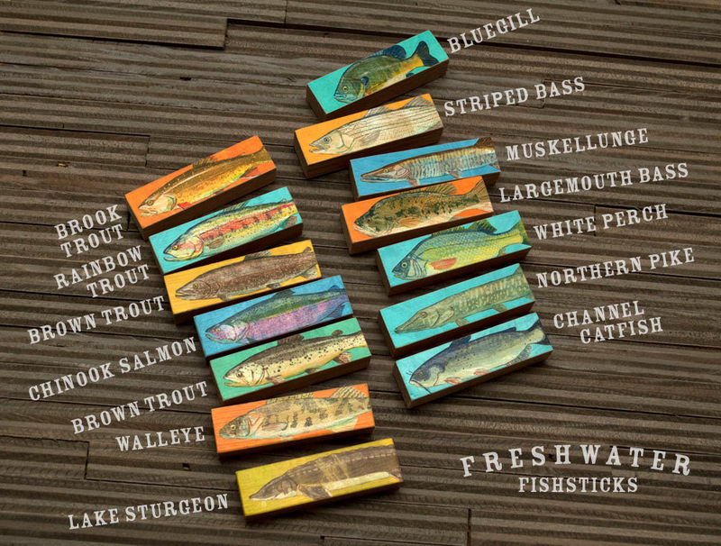 Fish Art - Fish Sticks - Freshwater Fish Art Block Set of 7 - Coastal Beach Decor - Beach House Art - Fathers Day Gift for Dad - Gift - product images  of