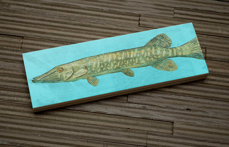 Freshwater Fish Art Medium Art Block - Northern Pike Art Print - 9 in x 3 in Fish Wall Decor Fisherman Gift - Fathers Day Gift for Dad - product images  of