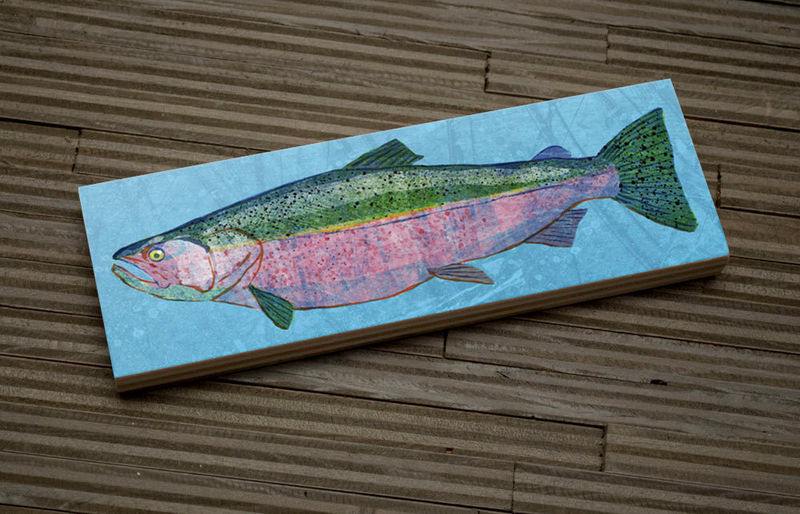 Freshwater Fish Art Medium Art Block - Chinook Salmon Art Print - 9 in x 3 in Fish Wall Decor Fisherman Gift - Fathers Day Gift for Dad - product images  of