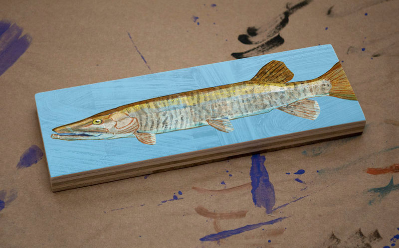 Freshwater Fish Art Medium Art Block - Muskellunge Art Print - 9 in x 3 in Fish Wall Decor Fisherman Gift - Fathers Day Gift for Dad - product images  of