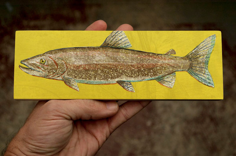 Freshwater Fish Art Medium Art Block - Lake Trout Art Print - 9 in x 3 in Fish Wall Decor Fisherman Gift - Fathers Day Gift for Dad - product images  of