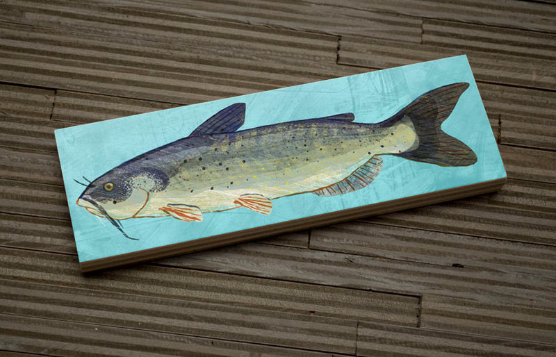 Freshwater Fish Art Medium Art Block - Channel Catfish Art Print - 9 in x 3 in Fish Wall Decor Fisherman Gift - Fathers Day Gift for Dad - product images  of