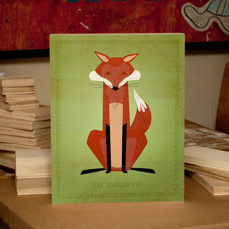 Woodland Nursery Wall Decor - Woodland Critters Crooked Fox Art Box 11 in x 14 in - Modern Nursery Wall Art for Kids Room - product images  of