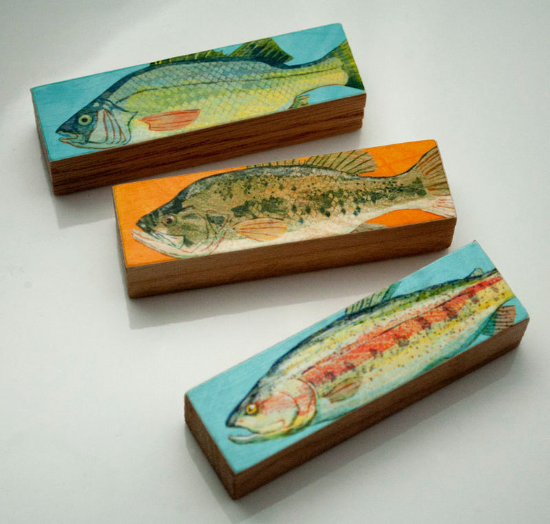 Small Art Fish Prints - Fish Sticks - Stick Fish Art Block Set of 3 Gifts for Fishermen - Gifts for Dad - Fishing Art - Freshwater Fish Art - product images  of