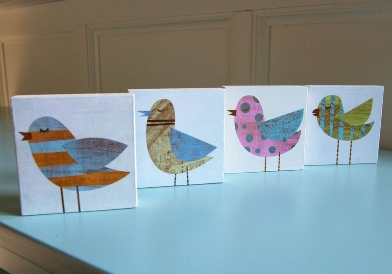Collage Bird Art Blocks - Set of Four - 3 in x 3 in - Bird Gift - For Mothers Day - Gift for Mom - Gift for Bird Lover - Art for Kids Room - product images  of