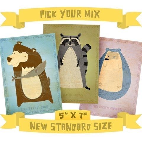 5,in,x,7,Critters,Series,-,Pick,Your,Mix,Set,of,3,Illustrations,Children,Art,kids,kid,print,cute,children,animal,hedgehog,bear,possum,art,digital,nursery,paper