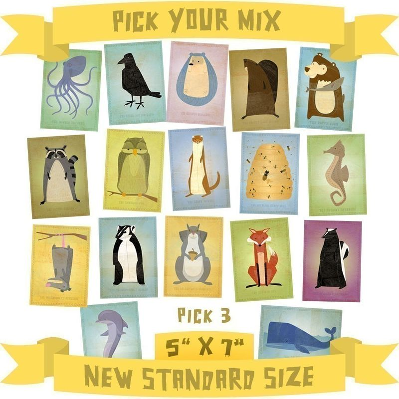 5 in x 7 in Critters Series - Pick Your Mix - Set of 3 Illustrations - product images  of